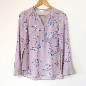 Rebecca Taylor Lavender Floral Silk Blouse